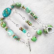 The Edge Of The Gobi Set Bracelet Earrings Mongolian & Chinese Turquoise