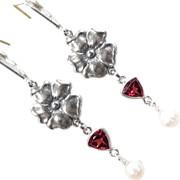 TUDOR ROSE Earrings Garnet Cultured Pearl Roses Silver Renaissance Style