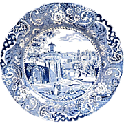 Vintage Blue Transferware W.R. Midwinter 'Landscape' Plate 10 Inch