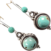 SOLD The Edge Of The Gobi Turquoise Drop Earrings