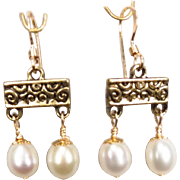 SOLD Ancient Roman Style Cultured Pearl Earrings Petite 14K GF Wires