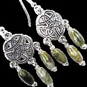 ISOLDE Earrings Irish Connemara Marble Celtic Medieval Style
