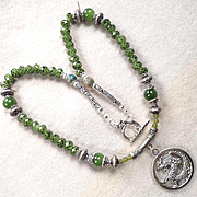 Serpents of Ireland Necklace Nephrite Jade 'Snakeskin' Green Crystal Celtic Medieval Style