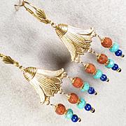 EGYPTIAN GODDESS Earrings Lapis Turquoise 'Terra-Cotta' Glass Lotus Blossom Ancient Egyptian S