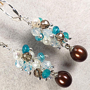 SOLD BELLAGIO CHOCOLATE Earrings 'Chocolate' Cultured Pearl Smoky Quartz Opalite Glass Silver