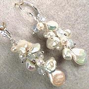 Snows Of Yesteryear Earrings Cultured Petal Pearls Opalite Glass