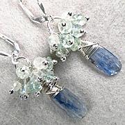 SOLD JADIS The Winter Queen Earrings Kyanite Rainbow Moonstone Aquamarine