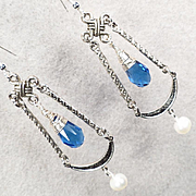 Christine De Pisan Earrings Sapphire-Quartz Glass Cultured Pearl Medieval Style