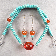 TSARINA Set Antique Faceted Baltic Honey Amber Magnesite Turquoise Silver Russian Medieval Style