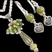 ISOLDE Set Irish Connemara Marble Nephrite Jade Rhyolite Celtic Medieval Style