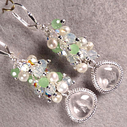 JADIS The Winter Queen Earrings Icy Quartz Glass Opalite Glass Frosted Green Chalcedony Swarov