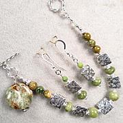 QUEEN OF TARA Set Bracelet Earrings Irish Connemara Marble Spirals Celtic Medieval Style
