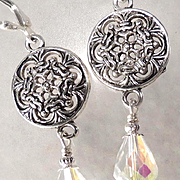 JADIS The Winter Queen Earrings Swarovski Aurora Borealis Briolettes Snowflakes
