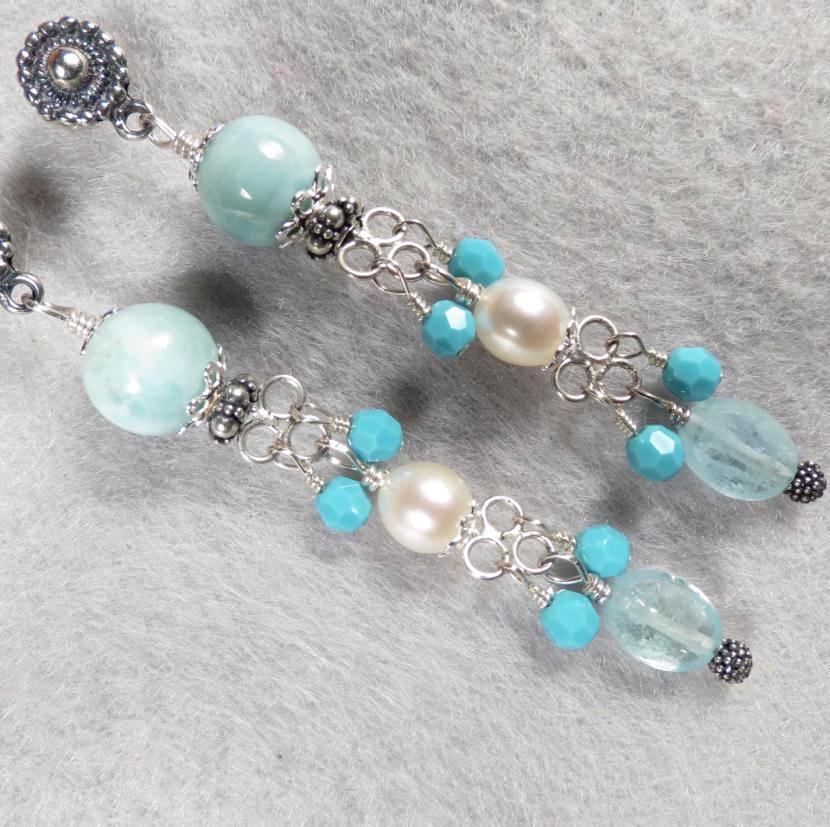 YEMAYA Earrings Larimar Aquamarine Cultured Freshwater Pearl Silver Atlantis Gem