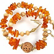 SALE QUEEN MABH Necklace Vintage Baltic Amber Carved Bone 24K GV Magnificent