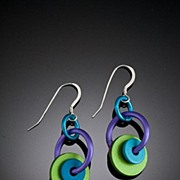Anodized Aluminum Washer Hoop Earrings