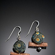 Glass Bead and Metal Mesh Earrings