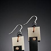 Aluminum, Brass and Copper Drop Earrings