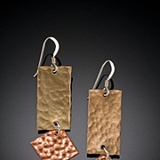 Brass, Copper, and Sterling Dangle Earrings