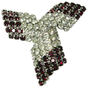 Vintage Kramer Red and White Crystal Tri-sided Pin