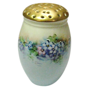 Vintage Hand Painted Hat Pin Holder or Muffineer With Gold Colored Gilding