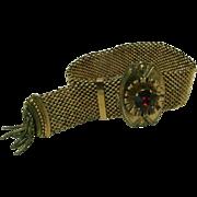 Vintage Victorian Revival Mesh Bracelet Signed A. O. Baker