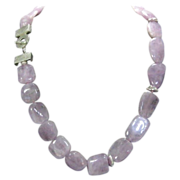 Artisan Crafted Genuine Kunzite Beads With Unique Sterling Clasp and Findings