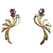 14 Karat Yellow Gold Retro Amethyst and Blue Topaz Earrings