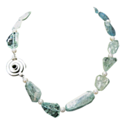 Artisan Crafted Genuine 300 cts of Aquamarine Necklace with Sterling Modernist Clasp