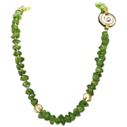 Artisan Crafted Genuine  Peridot  Necklace With 14 Karat Gold over Sterling Designer Findings