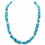 Artisan Crafted Genuine Sterling Silver Turquoise Nugget Necklace