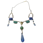 Vintage Sadie Green Necklace With Beautiful Blue and Green Art Glass