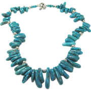 Artisan Crafted Turquoise Necklace with Sterling Toggle Clasp and Beads