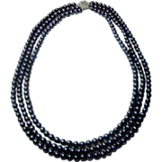 "14 Karat White Gold and 17"" Long Cultured Grey Freshwater Pearls in Three Strands"