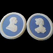Wedgwood Jasper Ware Queen Elizabeth II and HRH Duke of Edinburgh Wall Plaques Commemorative o