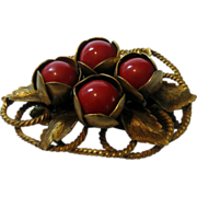 Vintage Massive Jacket Clip With Red Beads in Brass