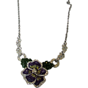 1930's Enameled Pansy Necklace in Vivid Colors