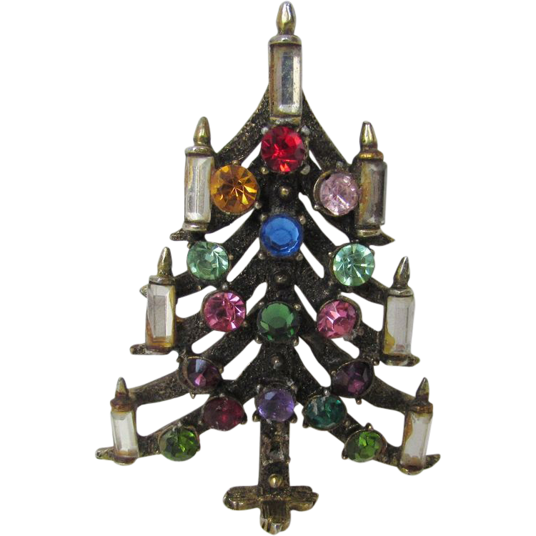 Vintage hollycraft christmas tree pin with crystal candles from