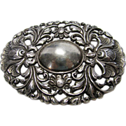 Sterling Silver Nouveau Pin Decorated With Twin Acanthus Flowers