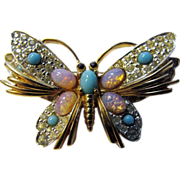 Vintage Jomaz Signed Butterfly Pin Enhanced with Faux Opals and Faux Turquoise