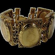 Vintage Hattie Carnegie Five Locket Bracelet in Golden Tones
