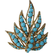 Vintage Ciner Pin With Faux Turquoise Beads