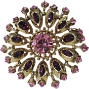 Vintage Hollycraft Dated 1955 Pin in Purple and Pink Crystals