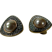 Robert Lee Morris Classic Clip Earrings with Faux Mabe Pearl and Clear Crystals