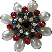 Vintage Craft Pin with Gripoux Styling and Jeweled Tone Crystals