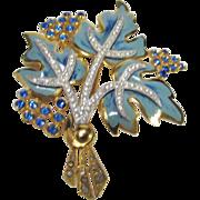 Vintage Enameled Pin Leaf Motif in Blue Hues
