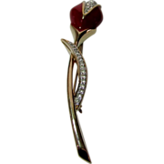 Vintage Panetta Rose Bud Pin With Crystal Accents