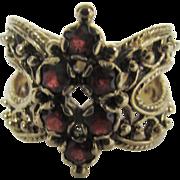 14 Karat Yellow Gold Garnet Marquis Shaped Ring