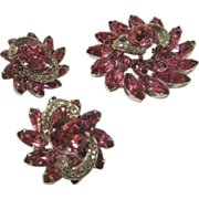 Eisenberg Pin and Earrings Set in Hot Pink Crystals in Silver Tone Metal