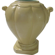 Rumrill Rare Deco Style Urn in Buttery Yellow and Aqua Inside